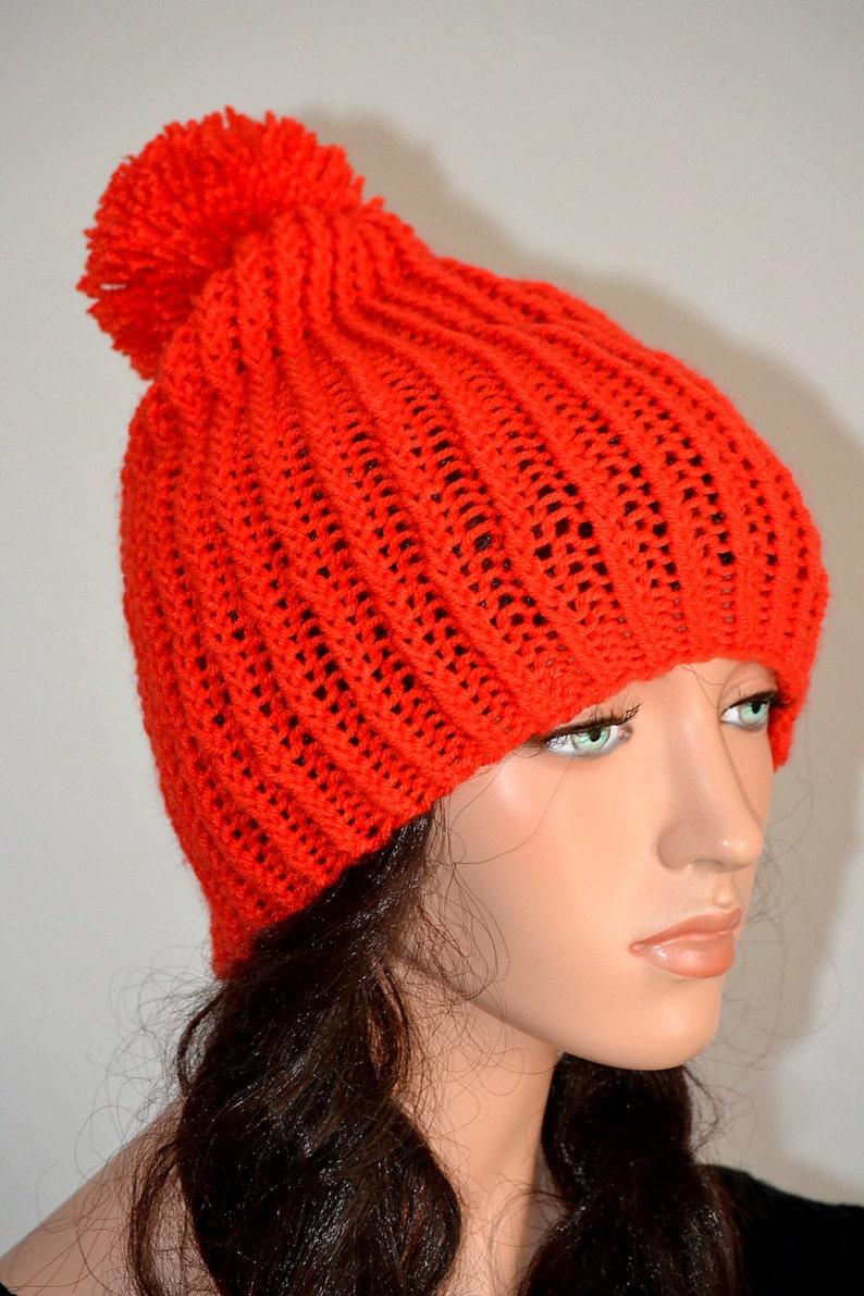 564e90ea14e44 Handmade Winter Beanie  Hand Knitted Pom Pom Beanie  Winter
