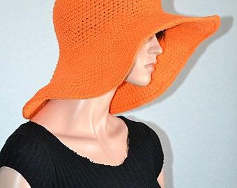 Orange Sun Hat/ Summer Hat/ Cotton Sun Hat/ Beach Hat/ Picnic Cotton Hat/ Gardening Hat/ Gift idea/ Summer Fashion/Crochet Summer Sun Hat
