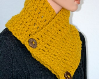 Crochet Cowl, Neck Warmer, Button Up Cowl, High Fashion Cowl, Winter Fashion Cowl, Gift for Her, Gift Idea, Handmade Gift, Christmas Gift