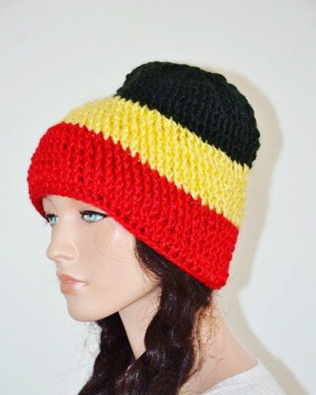 Uganda Beanie Hat  Black Yellow Red Beanie Hat  Pan African Beanie ... 46f7dac66d3