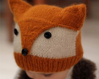 "Knitting Pattern FOXY & WOLFIE"" (Toddler, Child, Adult sizes) - English and French"