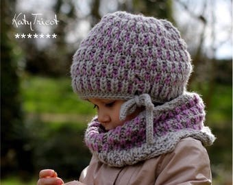 Knitting Pattern - Hat and Neck Warmer BRIOCHE SET (Toddler, Child, Adult sizes) - English