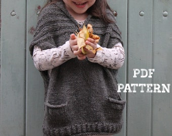 Knitting Pattern - COMFORT VEST (Child and Adult Sizes) - English, French & Russian