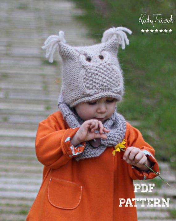 Patron de tricot - bonnet CHOUETTE (Tailles  Enfant et Adulte) - Français,  Anglais et Russe 131e373fe8c