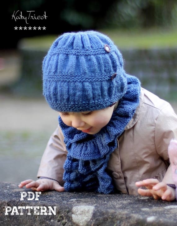 Knitting Pattern Hat and Scarf Frill Set Toddler Child   Etsy 9a1b7a95ac0