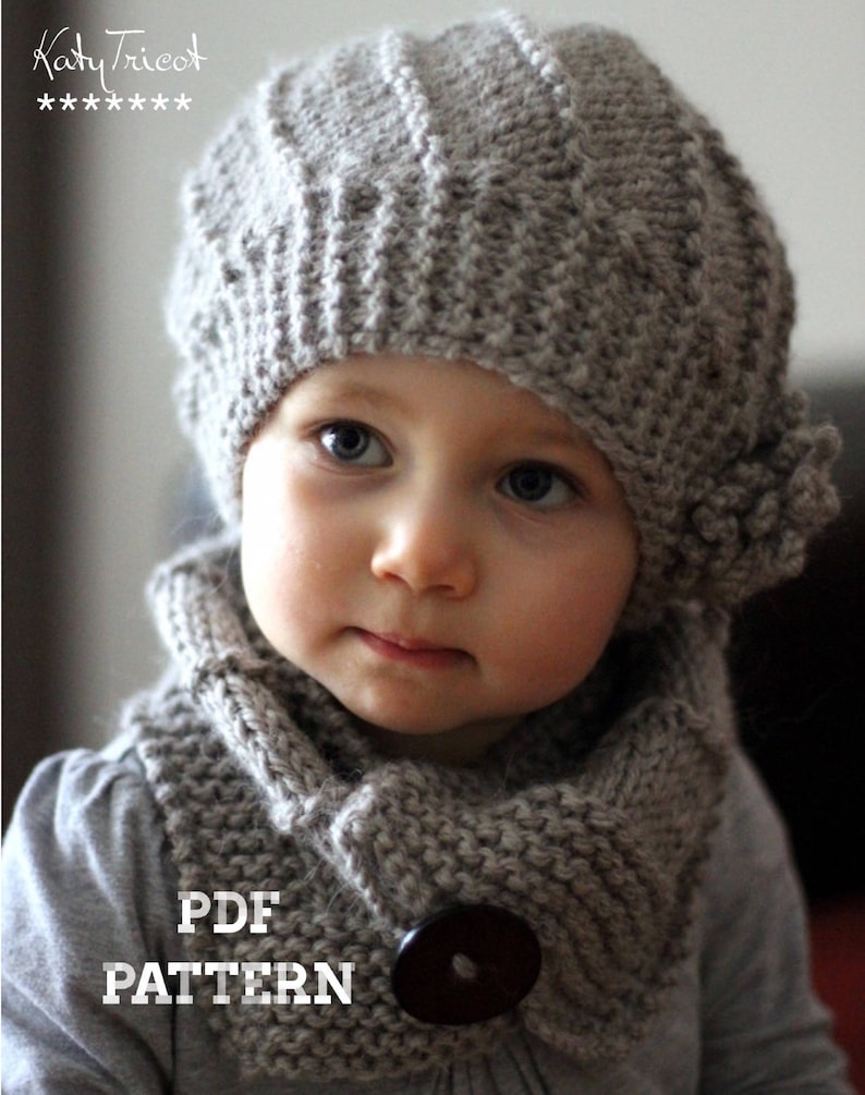 PDF Knitting Pattern  Hat and Cowl COOL WOOL Toddler Child image 0