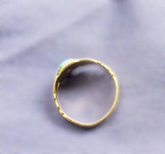 Victorian Era Turquoise Ring, Antique Turquoise C… - image 3