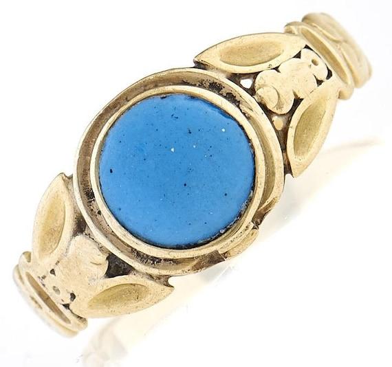 Victorian Era Turquoise Ring, Antique Turquoise C… - image 4
