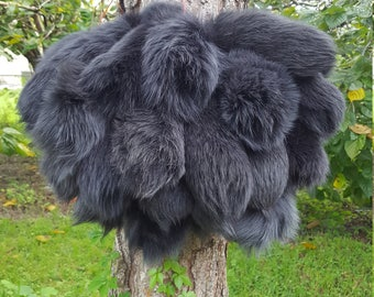 Dyed Tail Puff Charcoal Arctic Fox