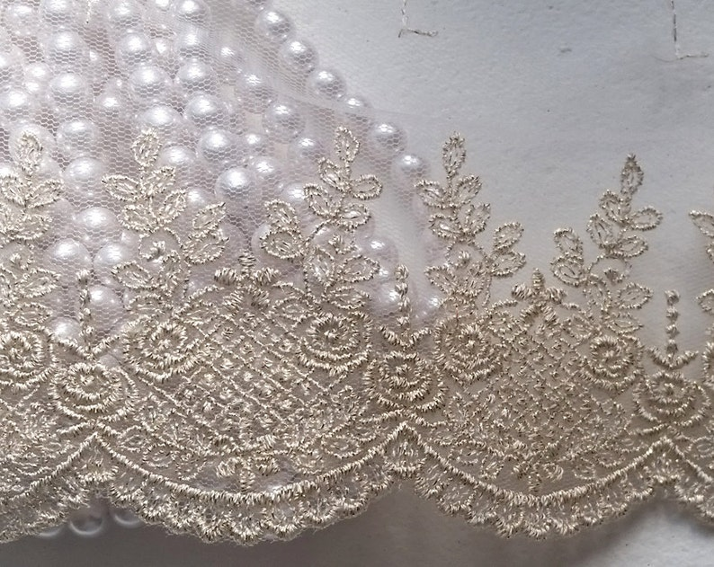 4 Gold Vintage Lace Trim Embroidered Gauze Lace Lovely  caa691400