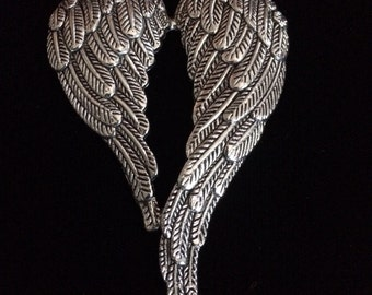 4 Pieces Large angel wing charms, large angel wing, curved double angel wing charm 68x47mm antique silver finish 31-6-AS