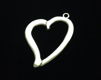 Silver heart charms, Cut out heart charms, Silver heart charms,  8 pieces 41x31mm, large heart charms 2-49-AS