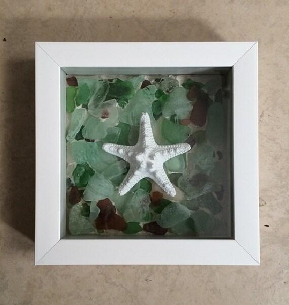 Starfish Sea Glass Shadow Box Original Nautical Wall Decor Etsy