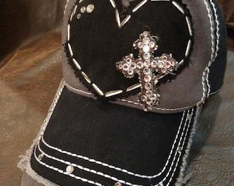 Cross My Heart Distressed Swarovski Crystal Baseball Cap c36b398e2063