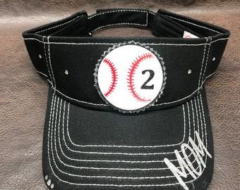 76a63abab8817 Baseball mom visor - personalizable baseball visor - bling baseball visor -  custom with or without number