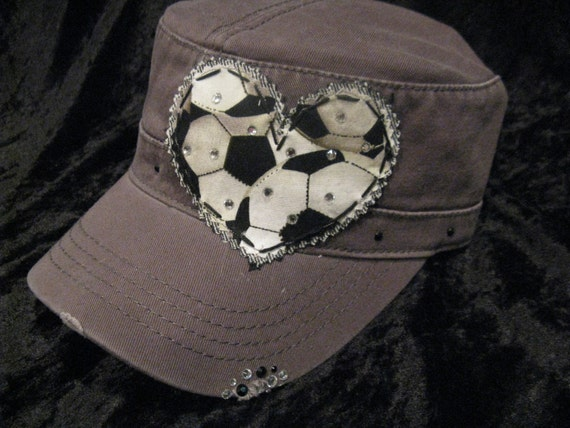 Soccer Mom Patchwork Crystal Distressed Cadet Cap  8b20e894c5a