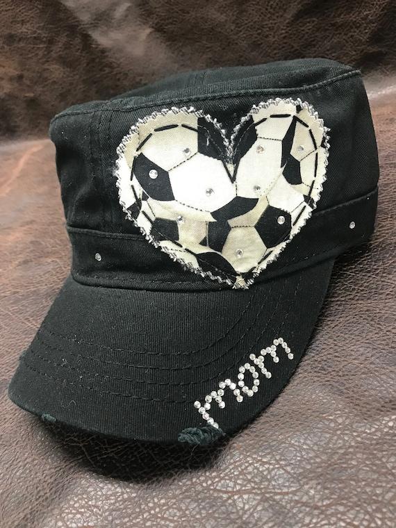 Soccer Mom LOVE Crystal Distressed Cadet Cap  347c010dcf4