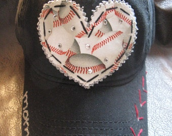 Baseball MOM Customized Crystal Vintage Baseball Cap