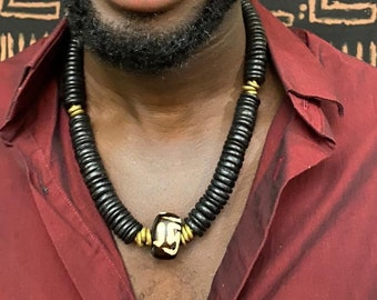 Tribal necklaces for Men Afrocentric pendant /& beads unisex necklaces Bone pendant necklaces,