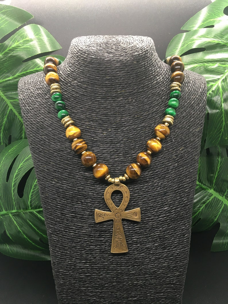 Unisex Fathers Day Gift Mens African Necklace Mens Ethnic Necklace Afrocentric Men/'s Tiger Eye Ankh Necklace Ethnic African Necklace