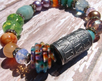 RESERVED Anne Choi, Rainbow of Chaos, Artisan Sterling Silver Bead, Artisan Lampwork Glass, Quote Bead, Limited Edition Bead, Boho Chic
