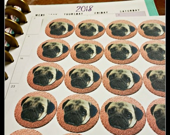 "Pug Circle Stickers for Planners 1.5"" by 1.5"""