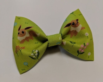 351a6294f8c8 Made To Order Pokemon Inspired Eevee Eeveelution Kawaii Korean Imported  Green Field and Flowers Fabric Hair Bow or Bow Tie