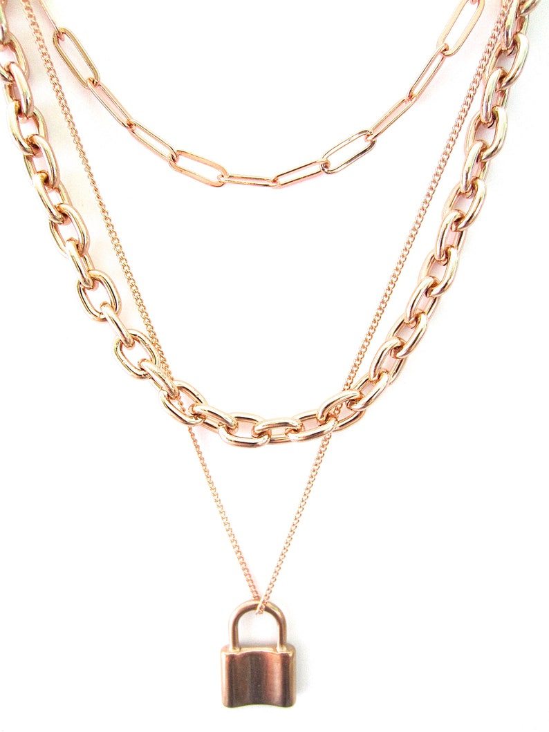 Triple Layer Necklace Rose Gold Layer Chains Rose Gold Multilayer Set Padlock Necklace Set Oval Link Necklace Paper Clip Layer Chains