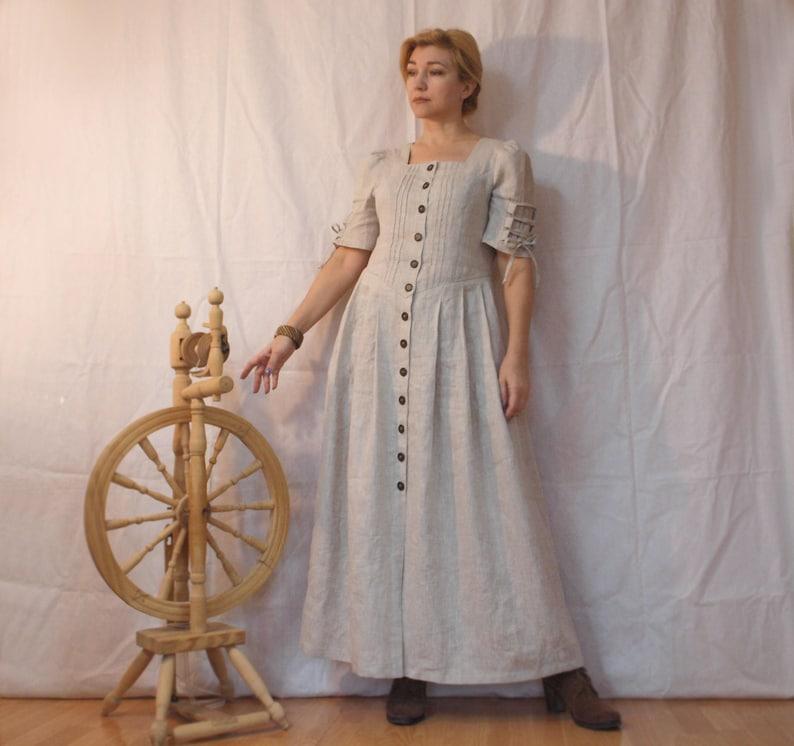 20cce0a0d498b4 Grijze linnen kleed jurk romantische jurk Eco-stijl ongebleekt