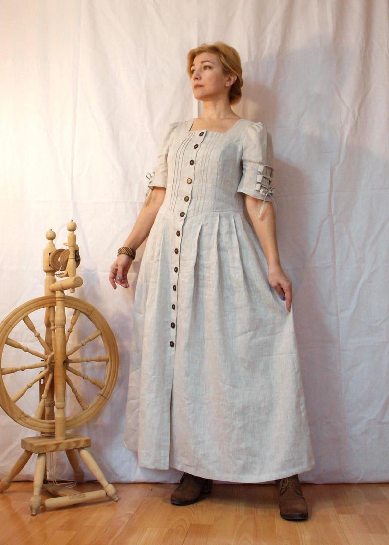 d950587efcdb Abito vestito di lino grigio romantici dress mamma Eco-stile