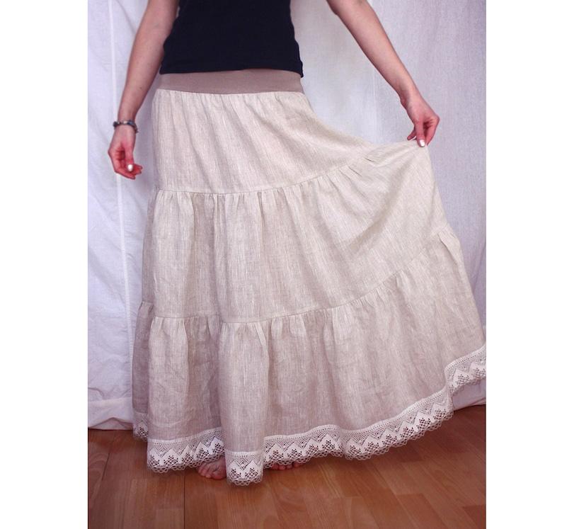 a67565566d362 Jupe longue en lin gris, jupe jupon en lin, jupe en lin sous-vêtements,  jupe Boho, style champêtre, jupe Rusticniveaux avec dentelle