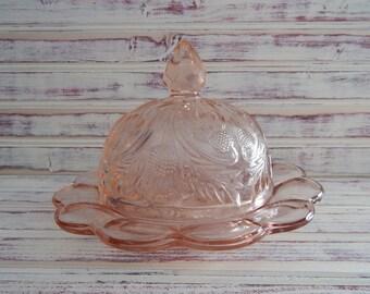 Vintage Butter Dish - Pink