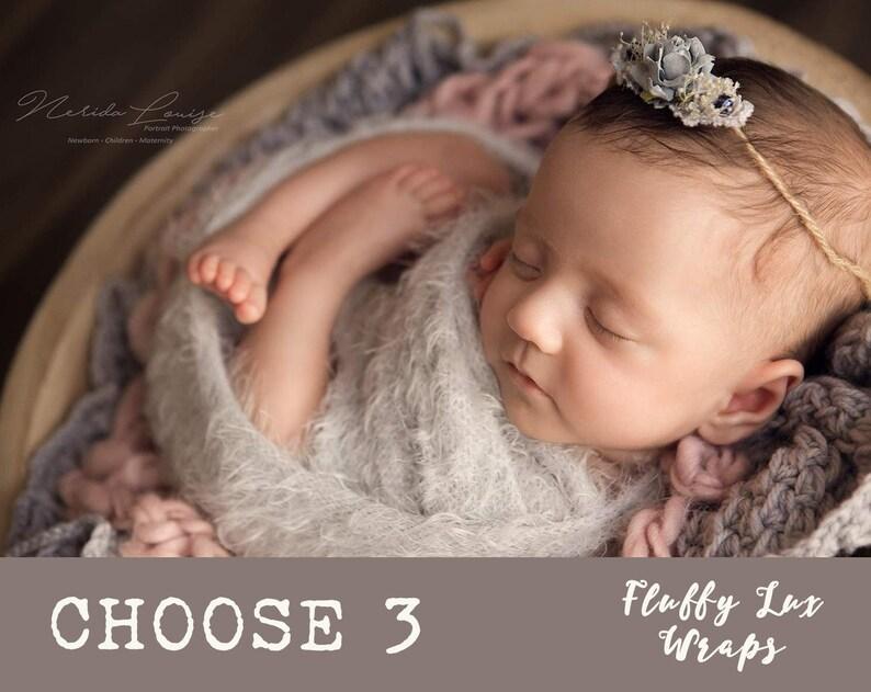 0f1e2ceb826 NEWBORN WRAP SET of 3 Fluffy Lux Wraps Newborn Photo Props