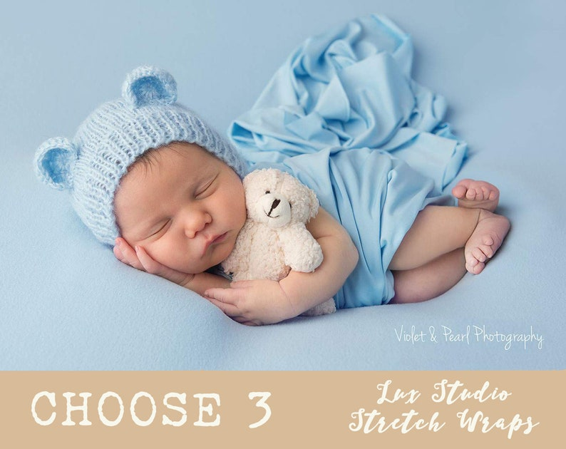 ec3594863ca NEWBORN WRAP SET of 3 Lux Studio Jersey Wrap Newborn Stretch