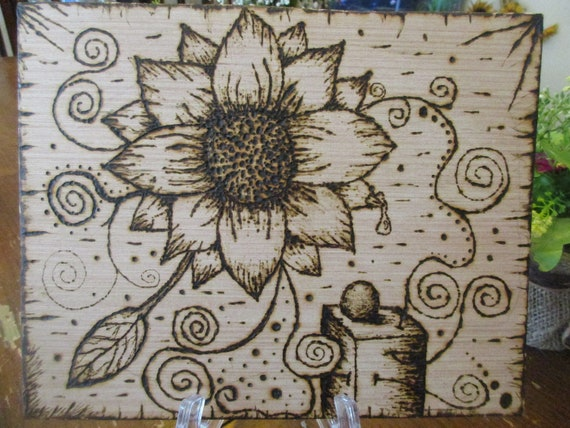 Pyrography Abstract Wood Burning With Flower And Spirals