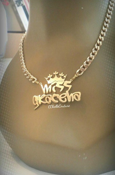 29592fabf78d0 Custom Name Necklace With Crown (Any Font) *This Style Only*