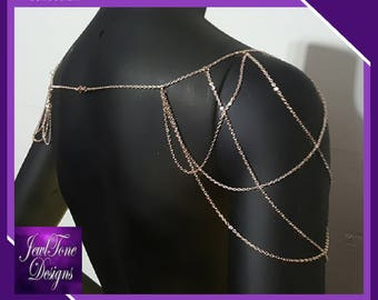 Rose Gold Shoulder Jewelry, Bridal Jewelry, Shoulder Necklace, Bridal Shoulder Draped Mesh Chain - by Jewltone Designs