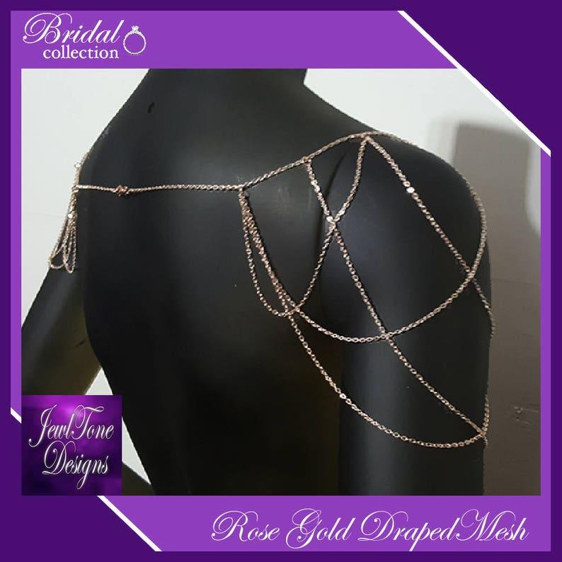 Rose Gold Shoulder Jewelry Bridal Jewelry Shoulder Necklace image 1