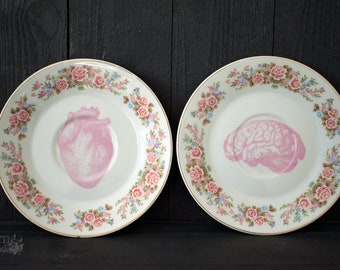 human skull plate human heart plate halloween plate halloween decor goth tableware halloween tableware goth decor set of 2