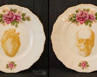 human skull plate human heart plate rose plate halloween plate halloween decor goth tableware halloween tableware set of 2