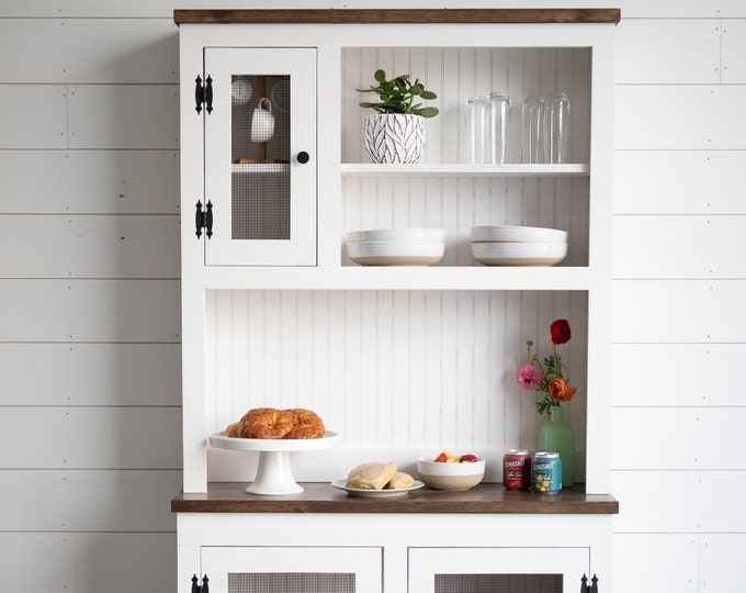Finnley Stepback Farmhouse Hutch - FREE SHIPPING