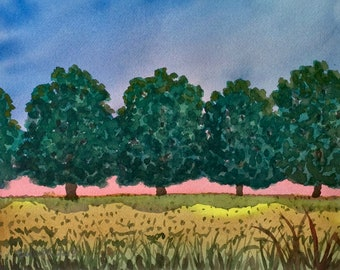 """FRAMED 15 3/4"""" x 17 1/2"""" Original Watercolor Painting, Trees and Sunset"""