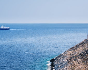 Ship crossing the sea in front of a lighthouse photography print, Wall art print, Landscape photography print, Travel decor, Cape