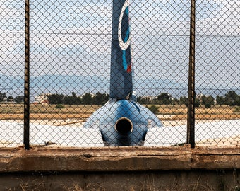 Abandoned airplane behind the fence photography print, Rear end, Wall art print, Urban photography print, Aviator decor, Athens, Greece
