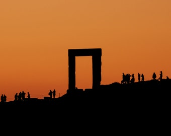 Monument by the sunset in Naxos, Greece, Wall art print, Landscape photography print, Travel decor, Island, summer