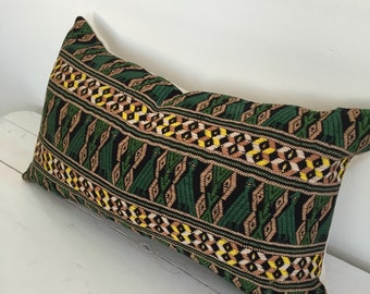 Handwoven Green and Yellow Guatemalan Lumbar Accent Pillow with Quetzel Bird Embroidery // 11x19