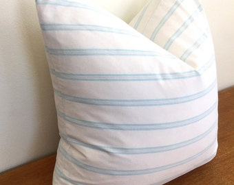 Striped Turquoise and White Pillow Cover // 19 x 19