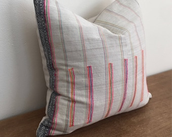 Vintage Handwoven Hmong Hemp Natural Colored Pillow with Neon Threads // 17 x 17 // Navy Stripe Down LEFT Side