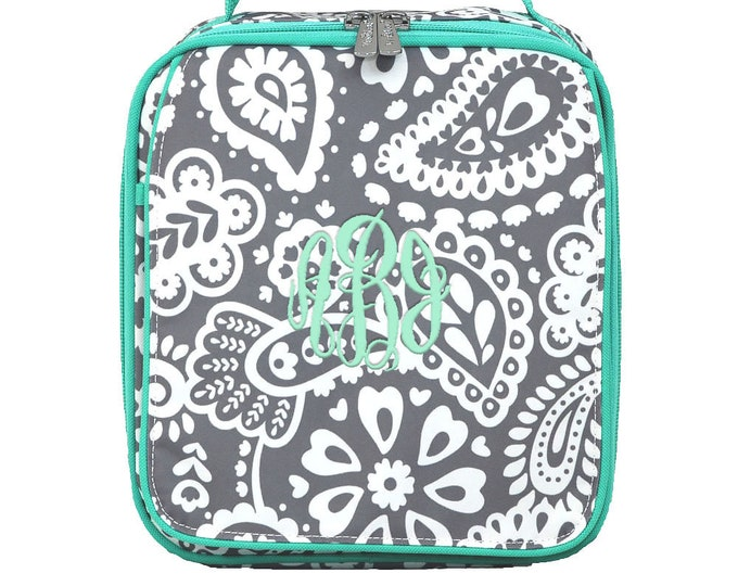 Monogrammed Lunch Tote | School Lunch Bag | Personalized Lunch Bag | Kids Lunch Bag | Adult Lunch Bag | Parker Paisley Mint Trim Lunch Bag