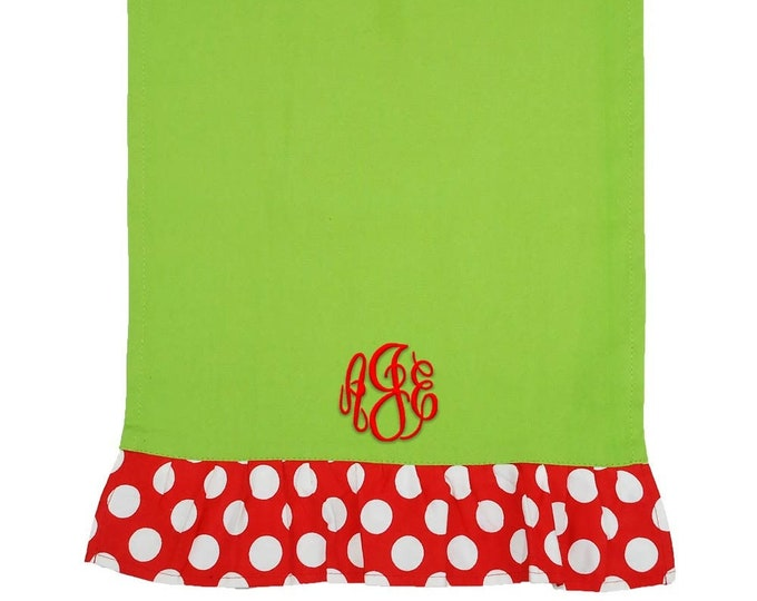 Monogrammed Christmas Hand Towel | Personalized Kitchen Hand Towel | Bathroom Hand Towel | Green Hand Towel With Red Trim and White Dots